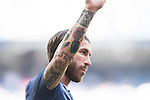 Tattoos of Sergio Ramos of Real Madrid are seen prior to the La Liga match between Real Madrid and Atletico de Madrid at the Santiago Bernabeu Stadium on 08 April 2017 in Madrid, Spain. Photo by Diego Gonzalez Souto / Power Sport Images