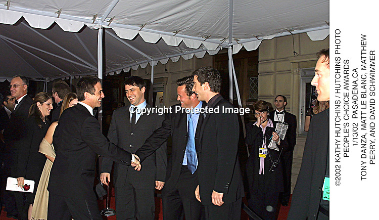 ©2002 KATHY HUTCHINS / HUTCHINS PHOTO.PEOPLE'S CHOICE AWARDS .1/13/02  PASADENA,CA.TONY DANZA, MATT LE BLANC, MATTHEW.PERRY, AND DAVID SCHWIMMER