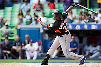 7 March 2009: #37 Bryan Engelhardt of the Netherlands swings during the 2009 World Baseball Classic Pool D match at Hiram Bithorn Stadium in San Juan, Puerto Rico. Netherlands pulled off a huge upset in their World Baseball Classic opener with a 3-2 victory over Dominican Republic.