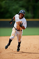 GCL Yankees East shortstop Ricky Surum (20) running the bases during the second game of a doubleheader against the GCL Blue Jays on July 24, 2017 at the Yankees Minor League Complex in Tampa, Florida.  GCL Yankees East defeated the GCL Blue Jays 7-3.  (Mike Janes/Four Seam Images)