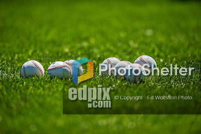 21 April 2013: A grouping of baseballs lies on the grass prior to a game between the New York Mets and the Washington Nationals at Citi Field in Flushing, NY. The Mets shut out the visiting Nationals 2-0, taking the rubber match of their 3-game weekend series. Mandatory Credit: Ed Wolfstein Photo *** RAW (NEF) Image File Available ***