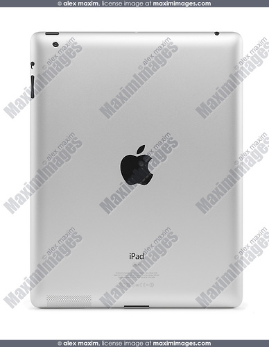 Apple iPad 2 tablet computer rear view. Isolated with clipping path on white background.