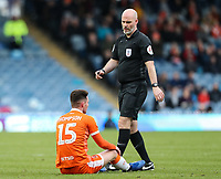 Referee Kevin Johnson checks on Blackpool's Jordan Thompson<br /> <br /> Photographer Andrew Kearns/CameraSport<br /> <br /> The EFL Sky Bet League One - Portsmouth v Blackpool - Saturday 12th January 2019 - Fratton Park - Portsmouth<br /> <br /> World Copyright &copy; 2019 CameraSport. All rights reserved. 43 Linden Ave. Countesthorpe. Leicester. England. LE8 5PG - Tel: +44 (0) 116 277 4147 - admin@camerasport.com - www.camerasport.com