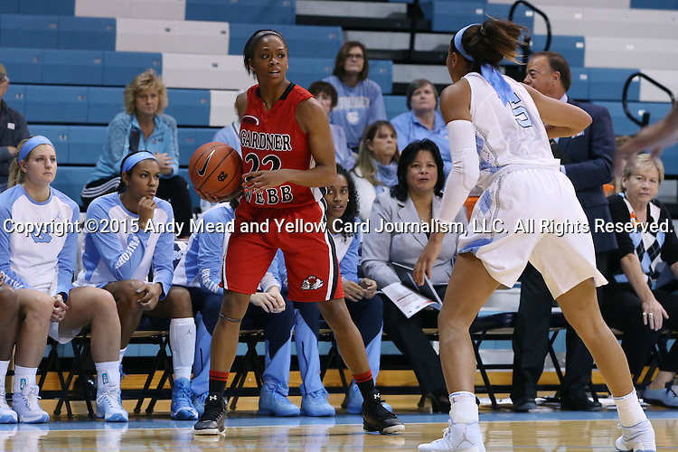 13 November 2015: Gardner-Webb's Candace Brown (22) and North Carolina's Stephanie Watts (5). The University of North Carolina Tar Heels hosted the Gardner-Webb University Runnin' Bulldogs at Carmichael Arena in Chapel Hill, North Carolina in a 2015-16 NCAA Division I Women's Basketball game. Gardner-Webb won the game 66-65.