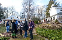 Guests mingle outside at the Bucks County Designer House Empty House Party Sunday, February 26, 2017 in Buckingham, Pennsylvania. (Photo by William Thomas Cain)