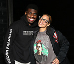 "Jawan M. Jackson and Dascha Polanco backstage after a performance of ""Ain't Too Proud"" at the Imperial Theatre on April 11, 2019 in New York City."