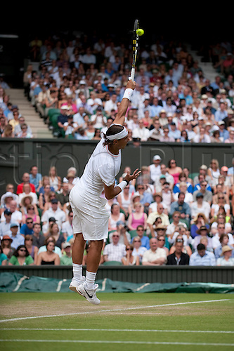 June 24th 2010: Wimbledon International Tennis Tournament held at the All England Lawn Tennis Club, London, England, Rafael Nadal of Spain playing Robin Hasse of NED