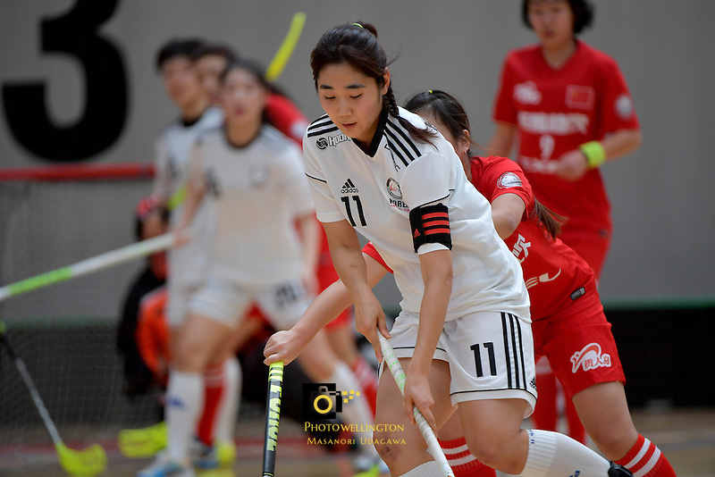 Korea's Jiyul Maeng in action during the World Floorball Championships 2017 Qualification for Asia Oceania Region - Korea v China at ASB Sports Centre , Wellington, New Zealand on Saturday 4 February 2017.<br /> Photo by Masanori Udagawa<br /> www.photowellington.photoshelter.com.