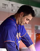 New York Mets starting pitcher Matt Harvey (33) watches eighth inning action from the dugout as his team bats against the Washington Nationals at Nationals Park in Washington, D.C. on Monday, July 20, 2015.  The Nationals won 7 - 2.<br /> Credit: Ron Sachs / CNP<br /> (RESTRICTION: NO New York or New Jersey Newspapers or newspapers within a 75 mile radius of New York City)