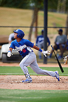 Los Angeles Dodgers minor league infielder Alexis Aguilar #6 during an instructional league game against the Chicago White Sox at the Camelback Ranch Training Complex on October 6, 2012 in Glendale, Arizona.  (Mike Janes/Four Seam Images)