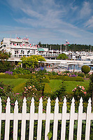 White Picket Fence and Formal Garden at Roche Harbor, San Juan Island, Washington, US