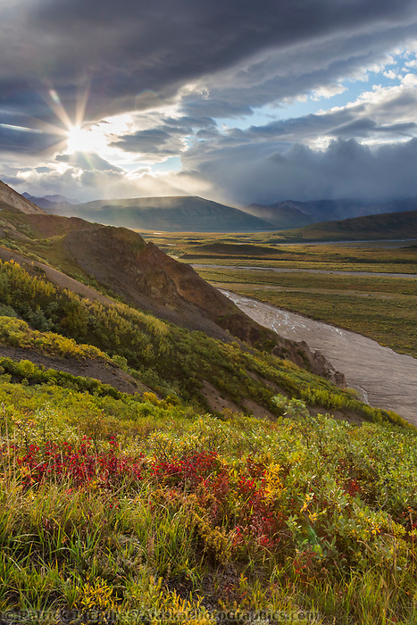 Morning sunshine breaks through the clouds in Polychrome Pass, Denali National Park, Alaska.