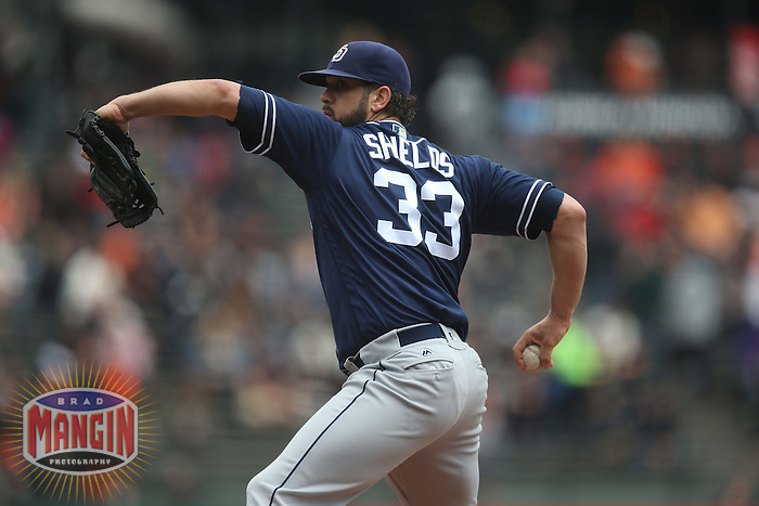 SAN FRANCISCO, CA - MAY 25:  James Shields #33 of the San Diego Padres pitches against the San Francisco Giants during the game at AT&T Park on Wednesday, May 25, 2016 in San Francisco, California. Photo by Brad Mangin