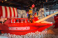 "The S.S. Free Shipping lego toy ship in the Target ""Wonderland!"" pop-up store in the Meatpacking District in New York on its grand opening day, Wednesday, December 9, 2015. According to Target the store combines physical and digital shopping using medallions given to visitors with an embedded RFID chip. Tapping the chip to an antenna near the product lets you order it. The store is an experiment in technology replacing shopping carts with chips.  (© Richard B. Levine)"