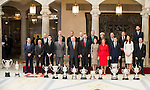 Sports minister Íñigo Méndez de Vigo, King Juan Carlos, King Felipe VI of Spain, Queen Letizia and Queen Sofia with all the winners attends to the National Sports Awards 2015 at El Pardo Palace in Madrid, Spain. January 23, 2017. (ALTERPHOTOS/BorjaB.Hojas)
