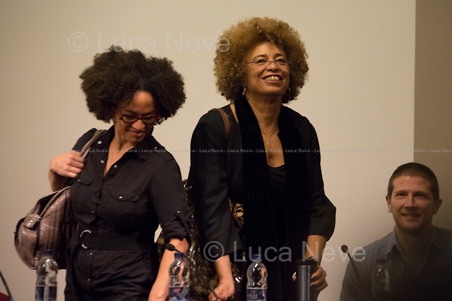 (From L to R) Gina Dent, Angela Davis &amp; Frank Barat. <br />