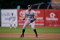 Hudson Valley Renegades Hill Alexander (18) leads off during a NY-Penn League game against the Mahoning Valley Scrappers on July 15, 2019 at Eastwood Field in Niles, Ohio.  Mahoning Valley defeated Hudson Valley 6-5.  (Mike Janes/Four Seam Images)
