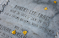 Burial marker of American poet Robert Frost, Bennington, Vermont, USA.