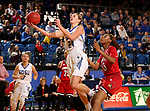 BROOKINGS, SD - DECEMBER 3: Tagyn Larson #24 from South Dakota State takes the ball to the basket past Bionca Dunham #33 from Louisville during their game Sunday afternoon at Frost Arena in Brookings, SD.  (Photo by Dave Eggen/Inertia)