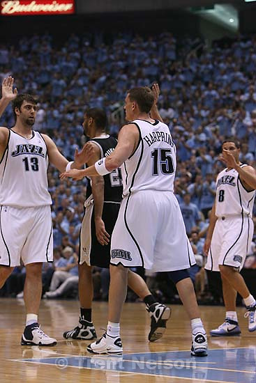 Salt Lake City - Utah Jazz center Mehmet Okur (13), of Turkey, high-fives Utah Jazz forward Matt Harpring (15) after Harpring was fouled on the shot - 3 point play. Utah Jazz vs. San Antonio Spurs, Western Conference Finals game three at EnergySolutions Arena..5.26.2007