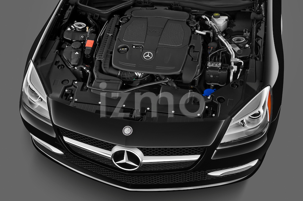 High angle engine detail of a 2013 Mercedes SLK Class .