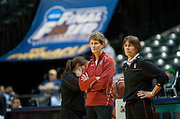 INDIANAPOLIS, IN - APRIL 2, 2011: Coaches Tara VanDerveer and Amy Tucker during an open practice session at Conseco Fieldhouse at the NCAA Final Four in Indianapolis, IN on April 1, 2011.