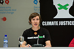 Anna Keenan from Australia (left) and Sara Svensson from Sweden launch a hunger strike for climate justice on the closing day of the Barcelona Climate Talks. The two join others around the world in in Climate Justice Fast!, committing to go without food until and beyond the Copenhagen conference unless their demands - for Climate Justice - are achieved. www.climatejusticefast.com (©Robert vanWaarden ALL RIGHTS RESERVED)