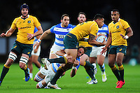 Israel Folau of Australia takes on the Argentina defence. The Rugby Championship match between Argentina and Australia on October 8, 2016 at Twickenham Stadium in London, England. Photo by: Patrick Khachfe / Onside Images