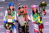 2nd February 2019, Maribor, Slovenia;  Winners of Golden Fox Trpohy at the Audi FIS Alpine Ski World Cup Women's Slalom Golden Fox on February 2, 2019 in Maribor, Slovenia. From left: Petra Vlhova of Slovakia, Mikaela Shiffrin of United States of America and Wendy Holdener of Switzerland
