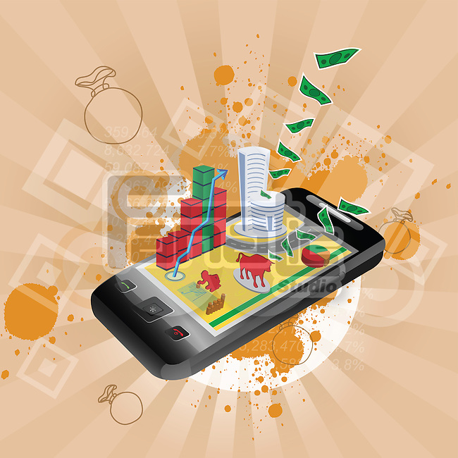 Illustrative representation showing the use of a mobile phone in stock trading