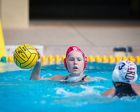 STANFORD, CA - March 23, 2019: Madison Stamen at Avery Aquatic Center. The #2 Stanford Cardinal took down the #18 Harvard Crimson 20-7.