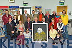 Minister Jimmy Dennihan unveiled the portrait of the late Con Houlihan to Castleisland Library donated by Artist Mike O'Donnell in the Library last Friday front row l-r: Abigail Martin, Tara Howarth, Caroline Martin, Conor Martin. Middle row: John Breen, Mamie O'Sullivan, Mike O'Donnell, Minister Jimmy Dennihan, Cllr Bobby O'Connell, Sheila Martin, Ann Houlihan. Back row: Brendan Martin, Sr Margaret, Mikie Joe O'Sullivan, Joe Martin, Tommy Martin, Peter Howarth, Vinnie Reddin Journalist, Bobby Houlihan International composer, Mary Howarth and Feidhlim Kelly..