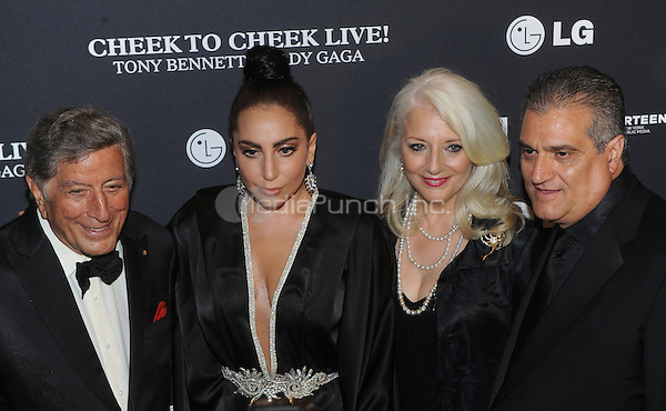 New York,NY-JULY 28: Tony Bennett, Lady Gaga, Cynthia Germanotta and Joe Germanotta attend 'Cheek To Cheek' taping at at Jazz at Lincoln Center on July 28, 2014 in New York City on July 27 , 2014.  Credit: John Palmer/MediaPunch