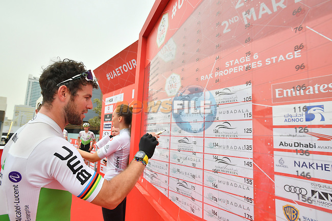 Mark Cavendish (GBR) Team Dimension Data signs on before the start of Stage 6 of the 2019 UAE Tour, running 175km form Ajman to Jebel Jais, Dubai, United Arab Emirates. 1st March 2019.<br /> Picture: LaPresse/Massimo Paolone | Cyclefile<br /> <br /> <br /> All photos usage must carry mandatory copyright credit (© Cyclefile | LaPresse/Massimo Paolone)