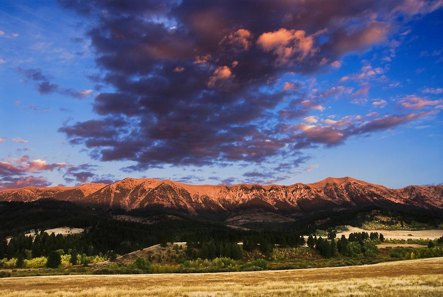 Dawn breaks on the Bridger Mountains near Bozeman, Montana.