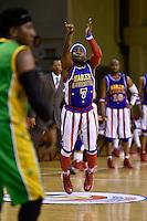 Too Tall in action during the Basketball - Harlem Globetrotters at TSB Bank Arena, Wellington, New Zealand on Sunday 7 June 2015.Photo by Masanori Udagawa. <br /> www.photowellington.photoshelter.com.