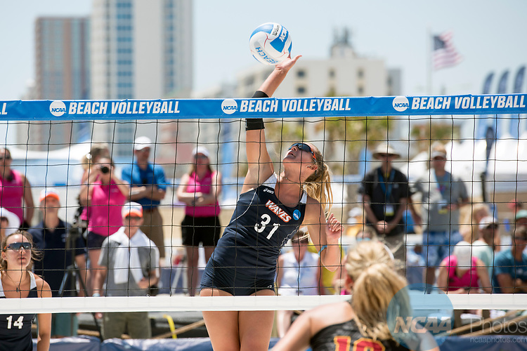GULF SHORES, AL - MAY 07:  Deahna Kraft (31) of Pepperdine hits the ball during the Division I Women's Beach Volleyball Championship held at Gulf Place on May 7, 2017 in Gulf Shores, Alabama.The University of Southern California defeated Pepperdine 3-2 to claim the national championship. (Photo by Stephen Nowland/NCAA Photos via Getty Images)