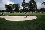 Tiger woods (USA) playing his tee shot out of the bunker on the 2nd fairway on day 1of the World Golf Championship Bridgestone Invitational, from Firestone Country Club, Akron, Ohio. 4/8/11.Picture Fran Caffrey www.golffile.ie