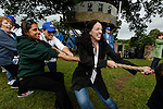 Julie Ann, Jamie, and Maureen during the Tug of War at the Caulfield/Mulryan family reunion at Ardenode Stud, County Kildare, Ireland on Sunday, June 23rd 2013. (Photo by Brian Garfinkel)