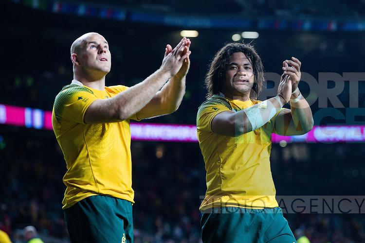 Australia's Tatafu Polota-Nau and Australia's Stephen Moore celebrate the victory - Rugby World Cup 2015 - Pool A - Australia v Wales - Twickenham Stadium - London- England - 10th October 2015 - Picture Charlie Forgham Bailey/Sportimage
