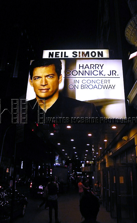 Theatre Marquee for Tony Award nominee Harry Connick, Jr.  Outside the final performance for his Broadway Concert Harry Connick, Jr. in Concert on Broadway at the Neil Simon Theatre. The show was being taped for future release..Julu 31, 2010 © Alice Erardy/Starlitepics