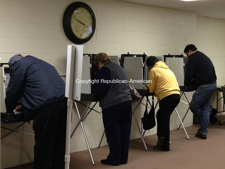 BETHLEHEM, CT - 5 Nov 2013 - 110513RH04 - Voters cast ballots at Bethlehem Town Hall for the municipal election. Rick Harrison Republican-American
