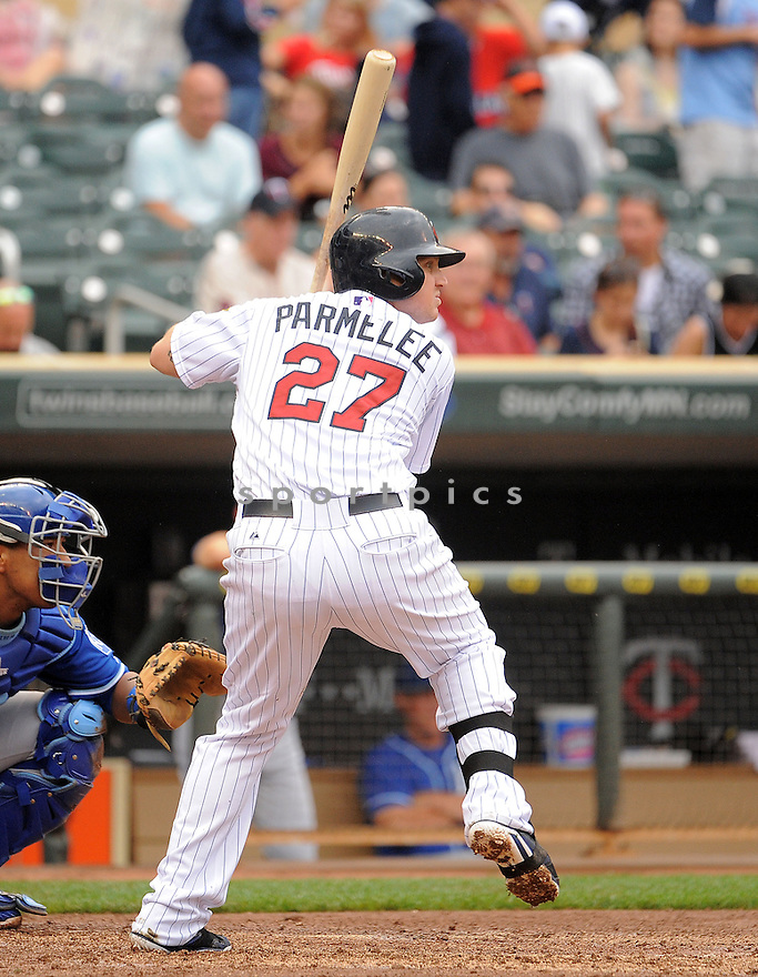 Minnesota Twins Chris Parmalee (27) during a game against the Kansas City Royals on August 17, 2014 at Target Field in Minneapolis, MN. The Royals beat the Twins 12-6.