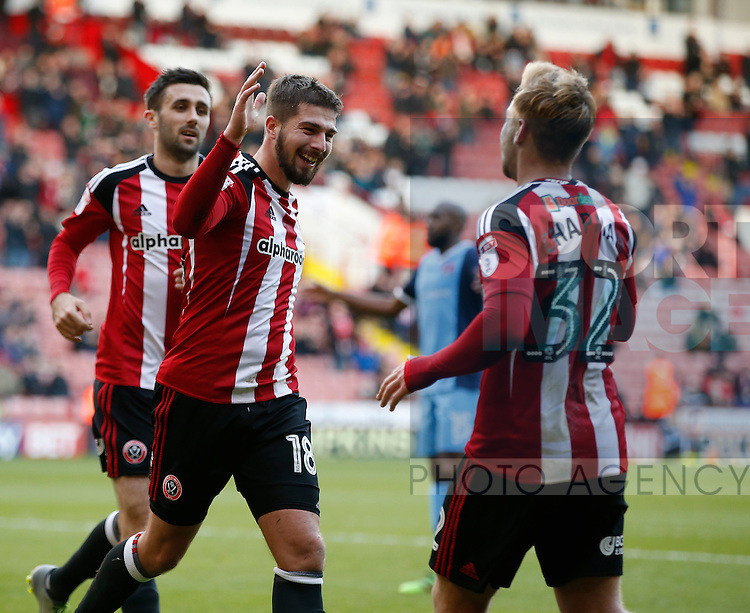 Kieron Freeman of Sheffield Utd celebrates his goal the first during the Emirates FA Cup Round One match at Bramall Lane Stadium, Sheffield. Picture date: November 6th, 2016. Pic Simon Bellis/Sportimage