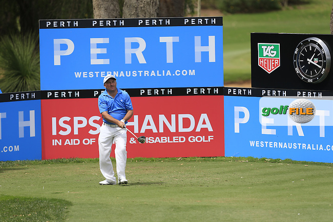 Damian McGrane (IRL) on the 18th tee during Round 3 of the ISPS HANDA Perth International at the Lake Karrinyup Country Club on Saturday 25rd October 2014.<br /> Picture:  Thos Caffrey / www.golffile.ie