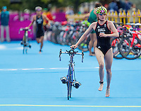 04 AUG 2012 - LONDON, GBR - Lucy Hall (GBR) of Great Britain exits transition for the start of the bike during the women's London 2012 Olympic Games Triathlon in Hyde Park, London, Great Britain .(PHOTO (C) 2012 NIGEL FARROW)