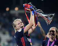 Football, Uefa Women's Champions League Final, VfL Wolfsburg - Olympique Lyonnais, Valeriy Lobanovskyi Stadium in Kiev on May 24, 2018.<br /> Olympique Lyonnais' Ada Hegerberg celebrates with the trophy after winning 4-1 the Uefa Women's Champions League Final against VfL Wolfsburg at Valeriy Lobanovskyi Stadium in Kiev on May 24, 2018.<br /> UPDATE IMAGES PRESS/Isabella Bonotto
