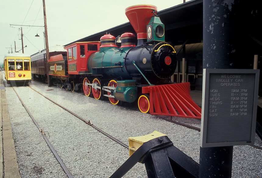 AJ2674, Chattanooga, locomotive, train, Choo Choo Train, Tennessee, Locomotive and trolley are displayed at Chattanooga Choo Choo and Terminal Station in Chattanooga in the state of Tennessee.