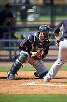 GCL Yankees West catcher Donny Sands (54) during a game against the GCL Yankees East on August 3, 2016 at the Yankees Complex in Tampa, Florida.  GCL Yankees East defeated GCL Yankees West 12-2.  (Mike Janes/Four Seam Images)