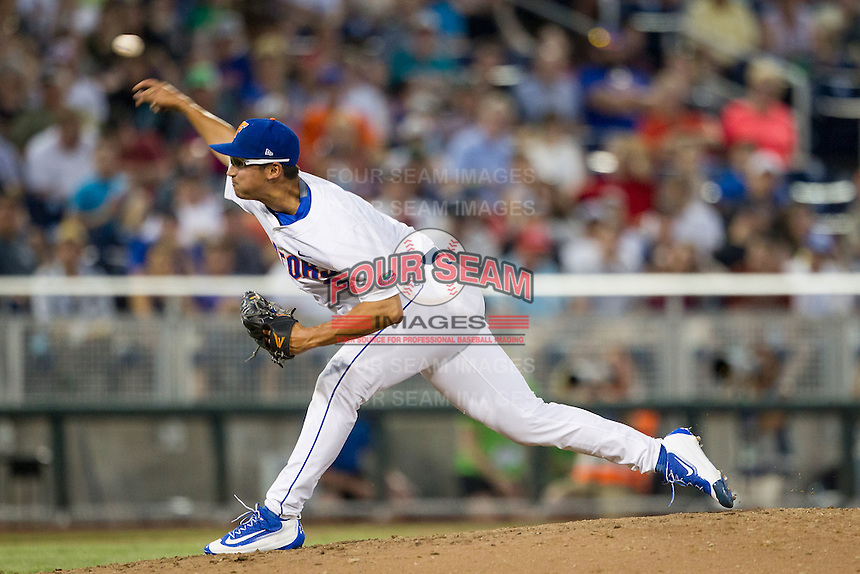Florida Gators pitcher Dane Dunning (3) delivers a pitch to the plate against the Coastal Carolina Chanticleers in Game 4 of the NCAA College World Series on June 19, 2016 at TD Ameritrade Park in Omaha, Nebraska. Coastal Carolina defeated Florida 2-1. (Andrew Woolley/Four Seam Images)
